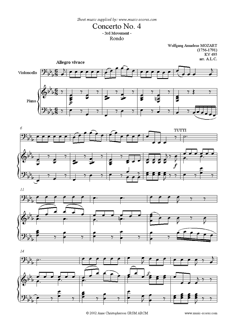 Front page of K495 Horn Concerto in Eb, 3rd Mvt Rondo: Cello sheet music