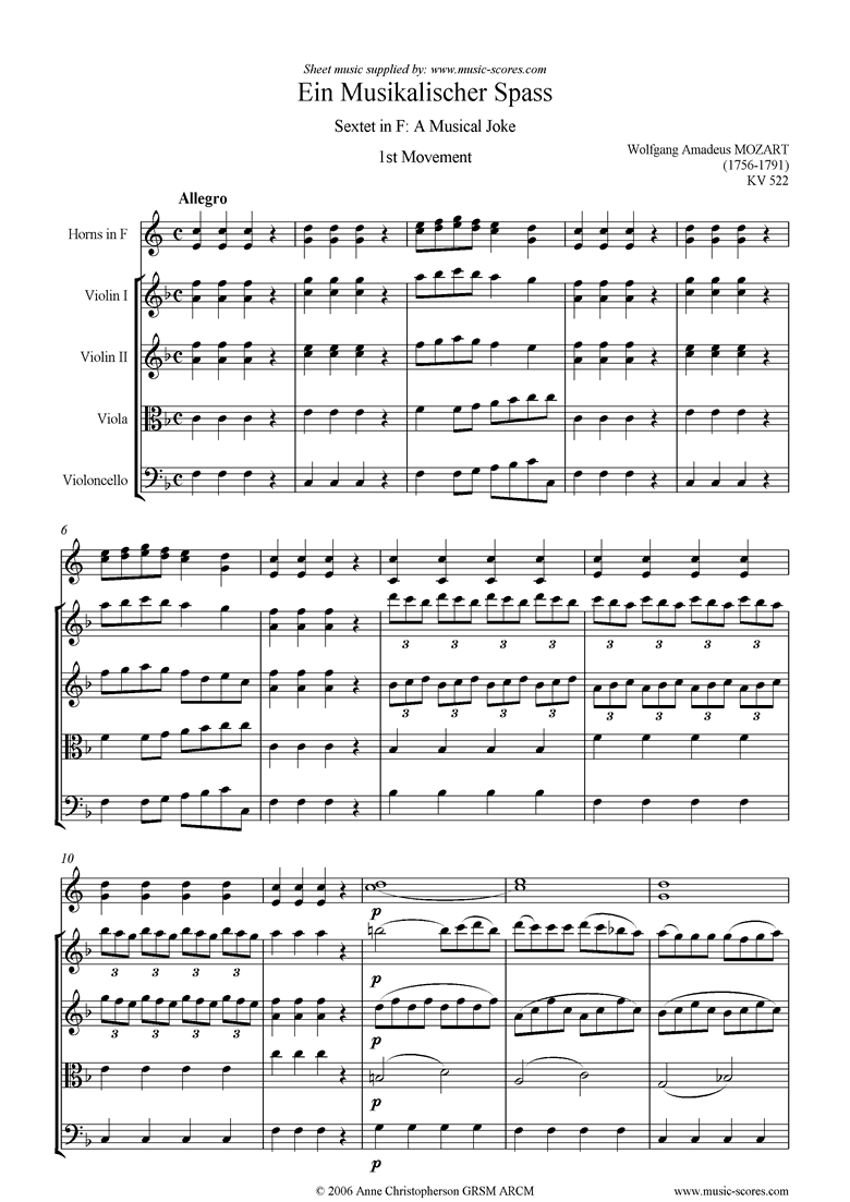 Front page of K522 Musical Joke, 1st movement, Allegro: hns, str sheet music