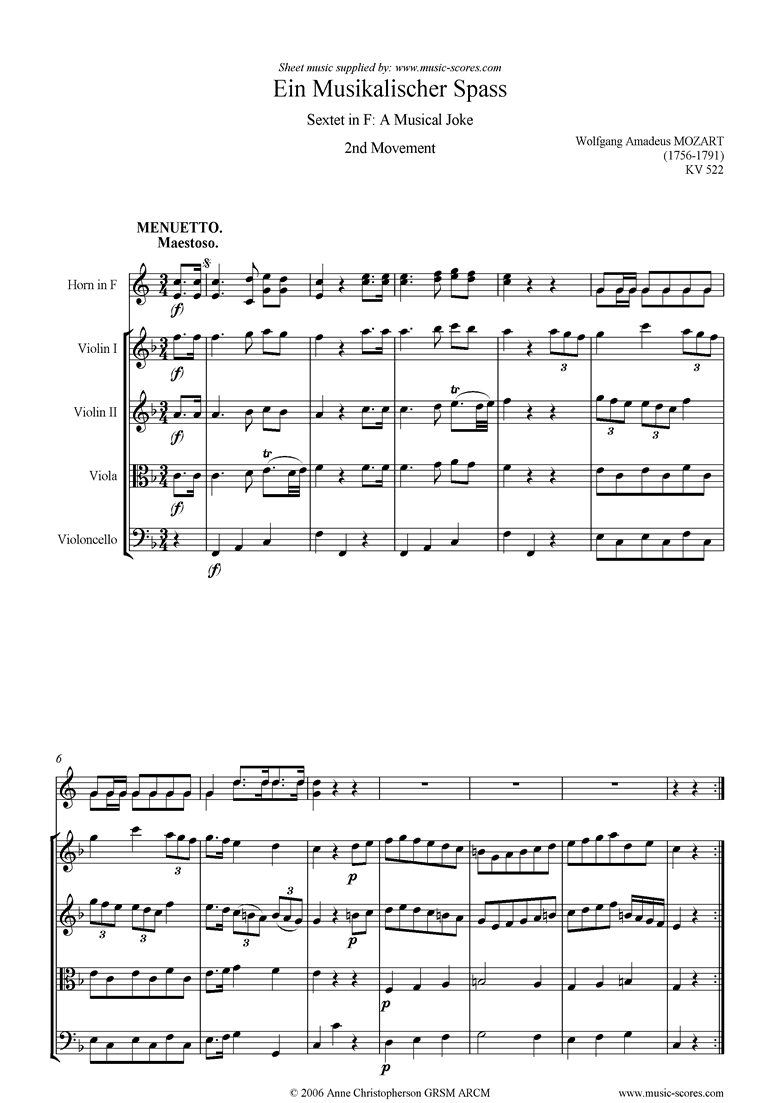 Front page of K522 Musical Joke, 2nd Movement: Menuetto: hn, str sheet music