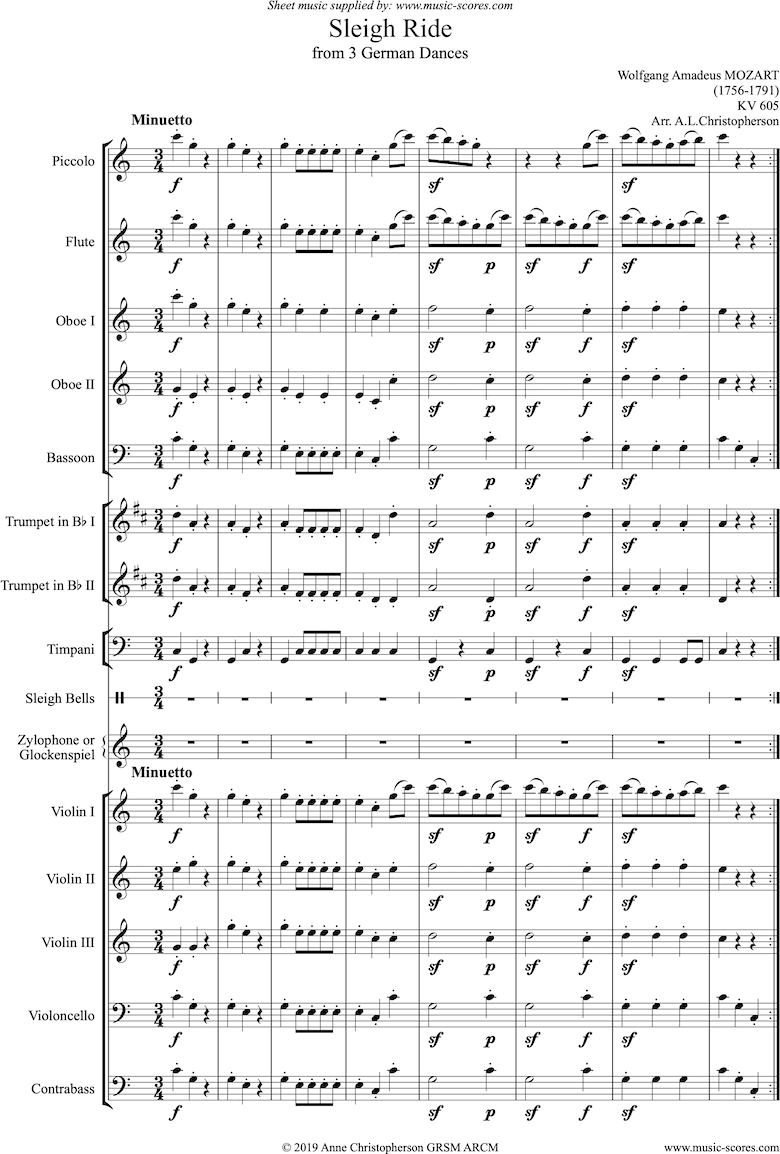 Front page of K605: Sleigh Ride: Orchestra sheet music