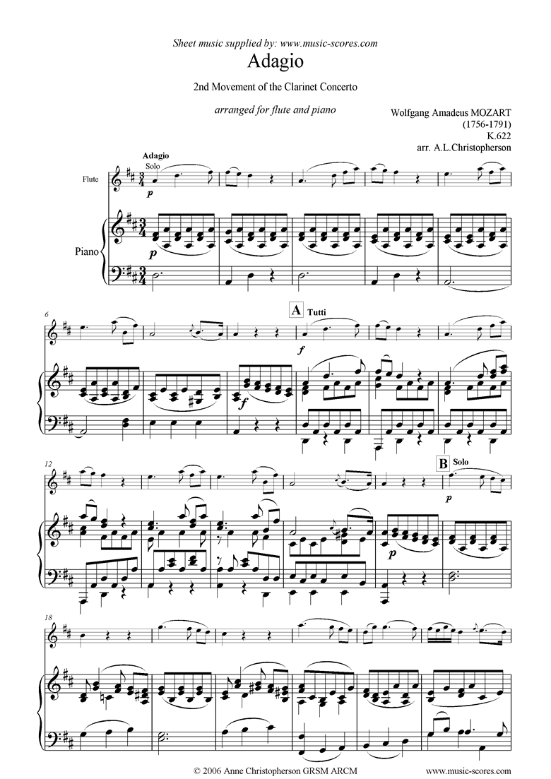 Front page of K622 Clarinet Concerto: 2nd: Flute sheet music