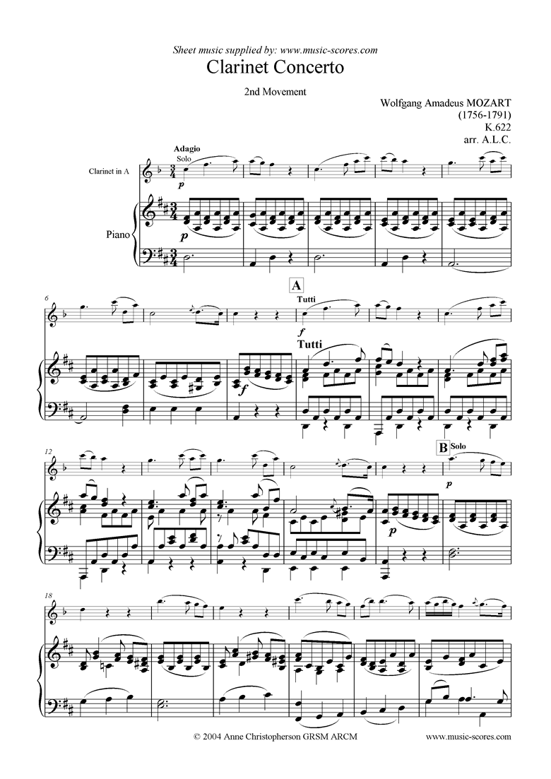 Front page of K622 Clarinet Concerto: 2nd Mvt: Clarinet in A sheet music