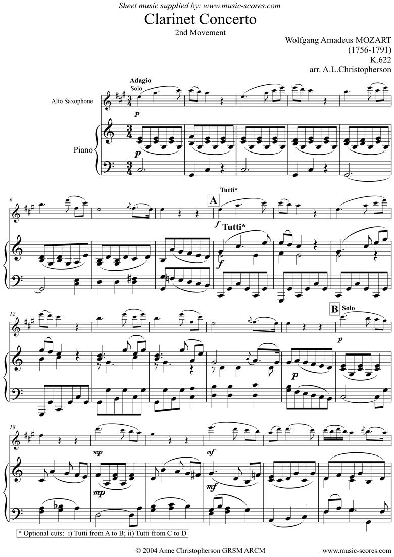 K622 Clarinet Concerto: Adagio: Alto Sax by Mozart