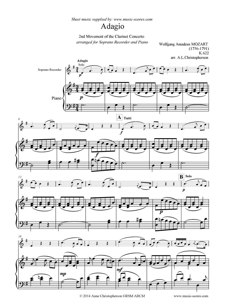 Front page of K622 Clarinet Concerto: 2nd: Soprano Recorder sheet music