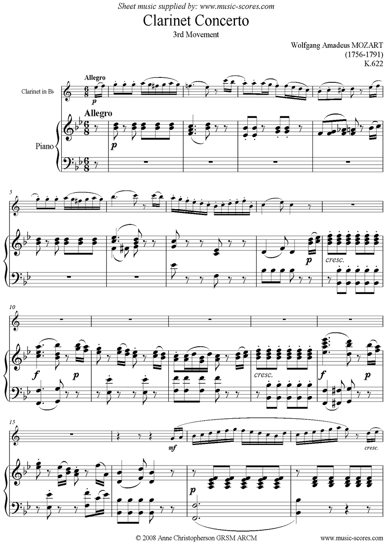 Front page of K622 Clarinet Concerto: 3rd mvt: Bb Clarinet sheet music