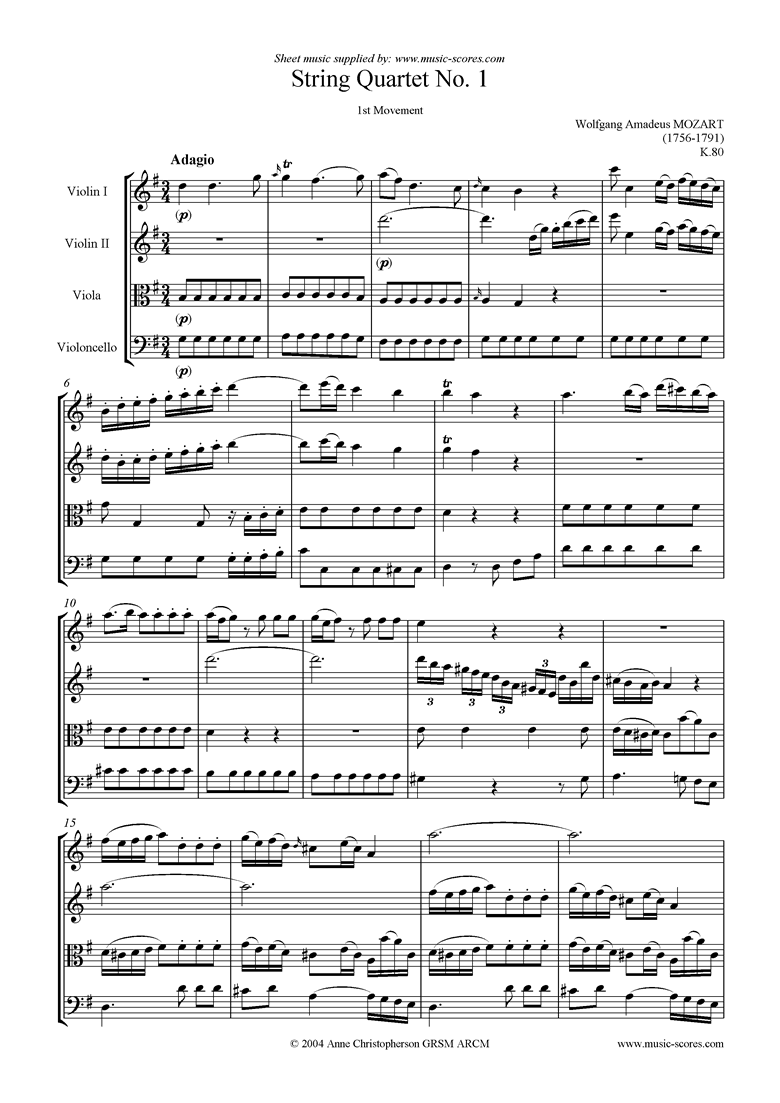 Front page of K080 String Quartet No 01: 1st mvt Adagio sheet music