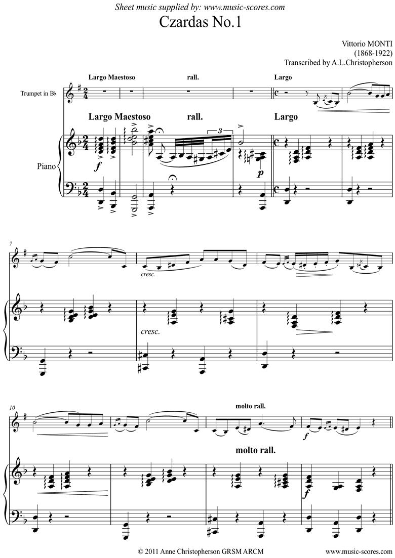 Czardas No.1: Trumpet by Monti