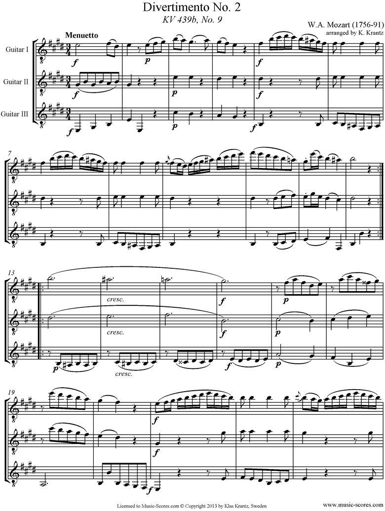 Front page of K439b, K.Anh229 Divertimento No 02: 4th mvt, Minuet and Trio: 3 Guitars sheet music