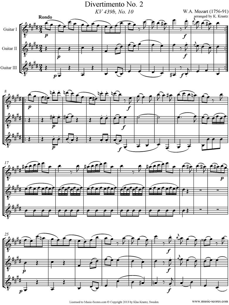 K439b, K.Anh229 Divertimento No 02: 5th mvt, Rondo: 3 Guitars by Mozart