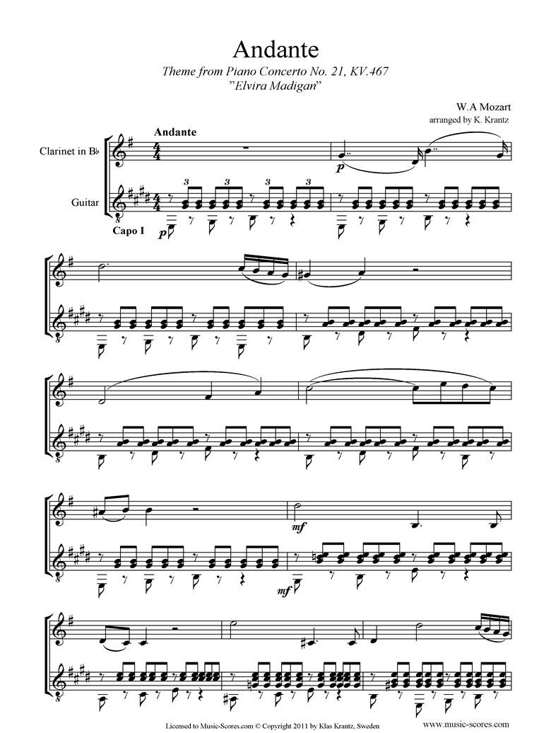 K467 Piano Concerto 21, 2nd mvt Elvira Madigan: Clarinet, Guitar Capo I by Mozart