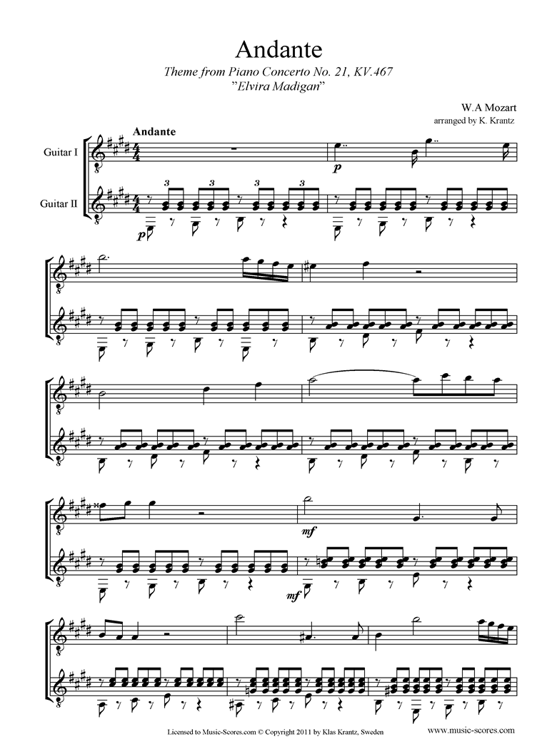 K467 Piano Concerto 21, 2nd mvt Elvira Madigan: Guitar Duet by Mozart
