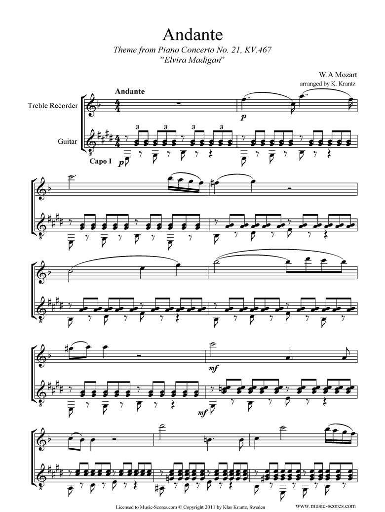 Front page of K467 Piano Concerto 21, 2nd mvt Elvira Madigan: Treble Recorder, Guitar sheet music