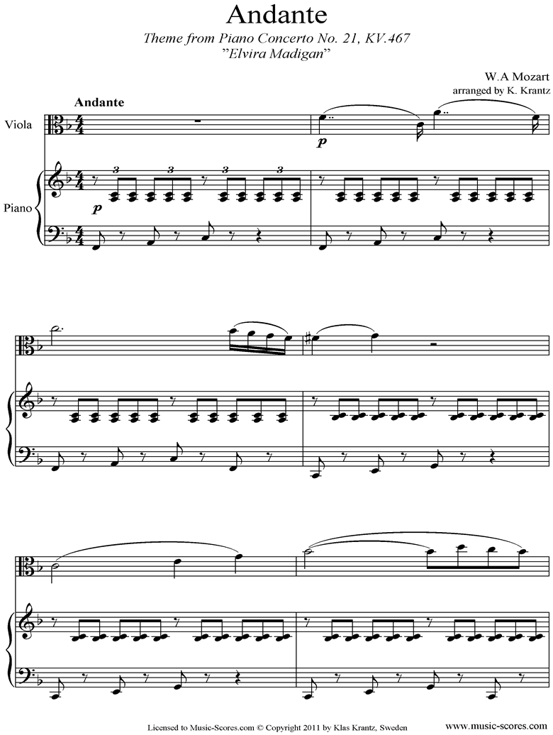 K467 Piano Concerto 21, 2nd mvt Elvira Madigan: Viola, Piano by Mozart
