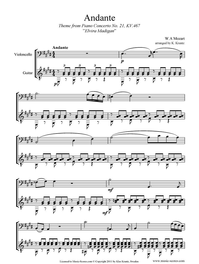 K467 Piano Concerto 21, 2nd mvt Elvira Madigan: Cello, Guitar by Mozart