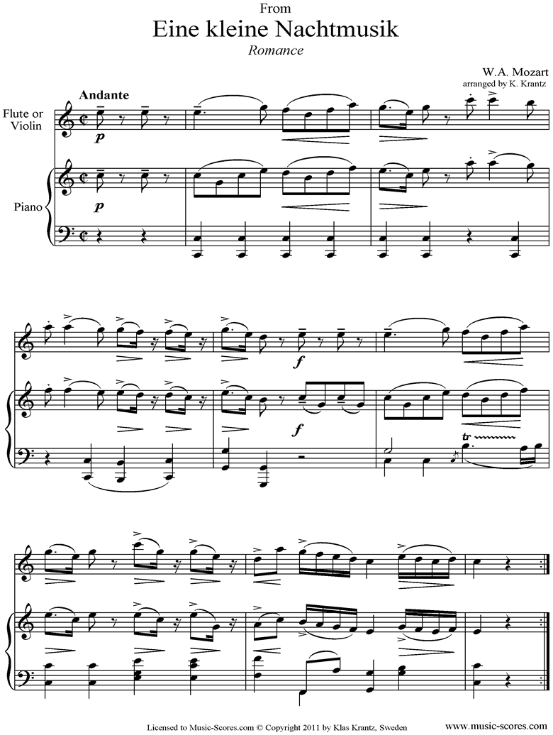 Front page of K525 Eine Kleine Nacht Musik 2: Romanza: Flute and Piano  sheet music