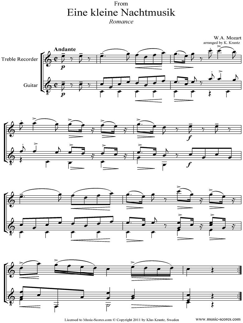 K525 Eine Kleine Nacht Musik 2: Romanza: Treble Recorder and Guitar  by Mozart