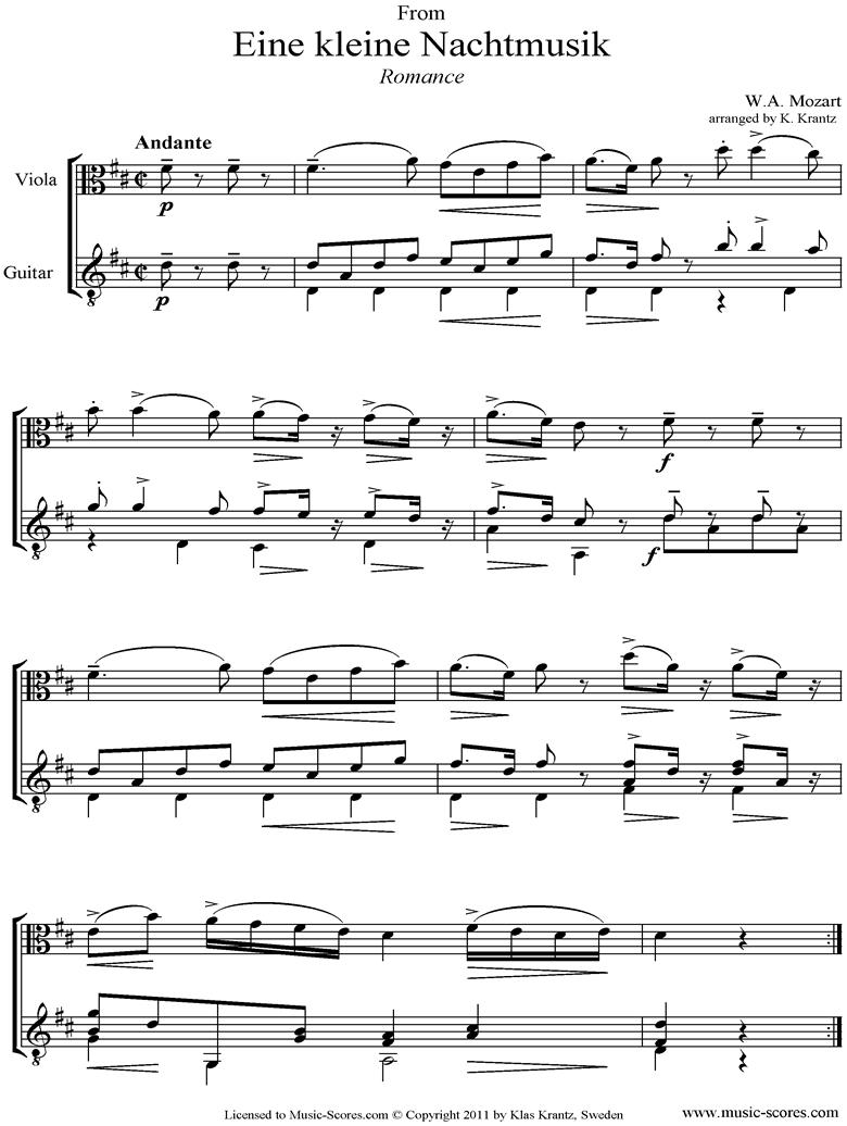 K525 Eine Kleine Nacht Musik 2: Romanza: Viola and Guitar  by Mozart
