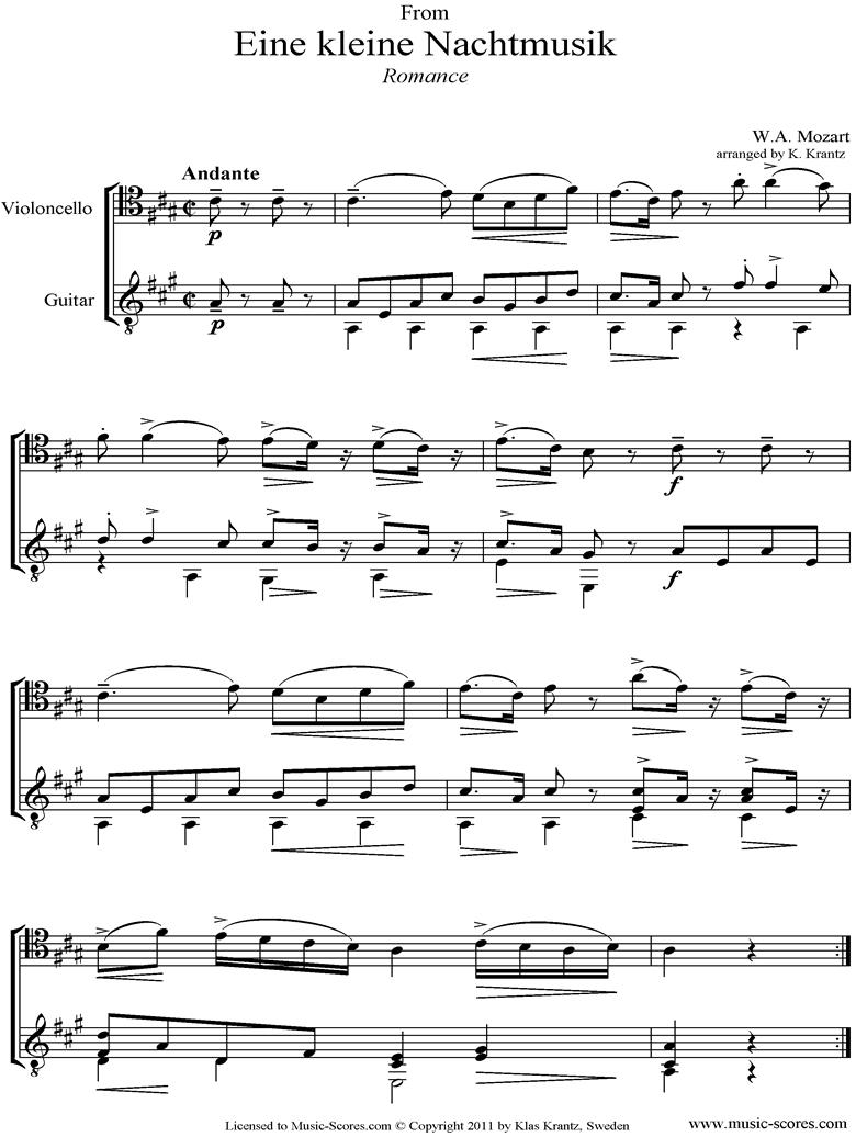 K525 Eine Kleine Nacht Musik 2: Romanza: Cello and Guitar  by Mozart