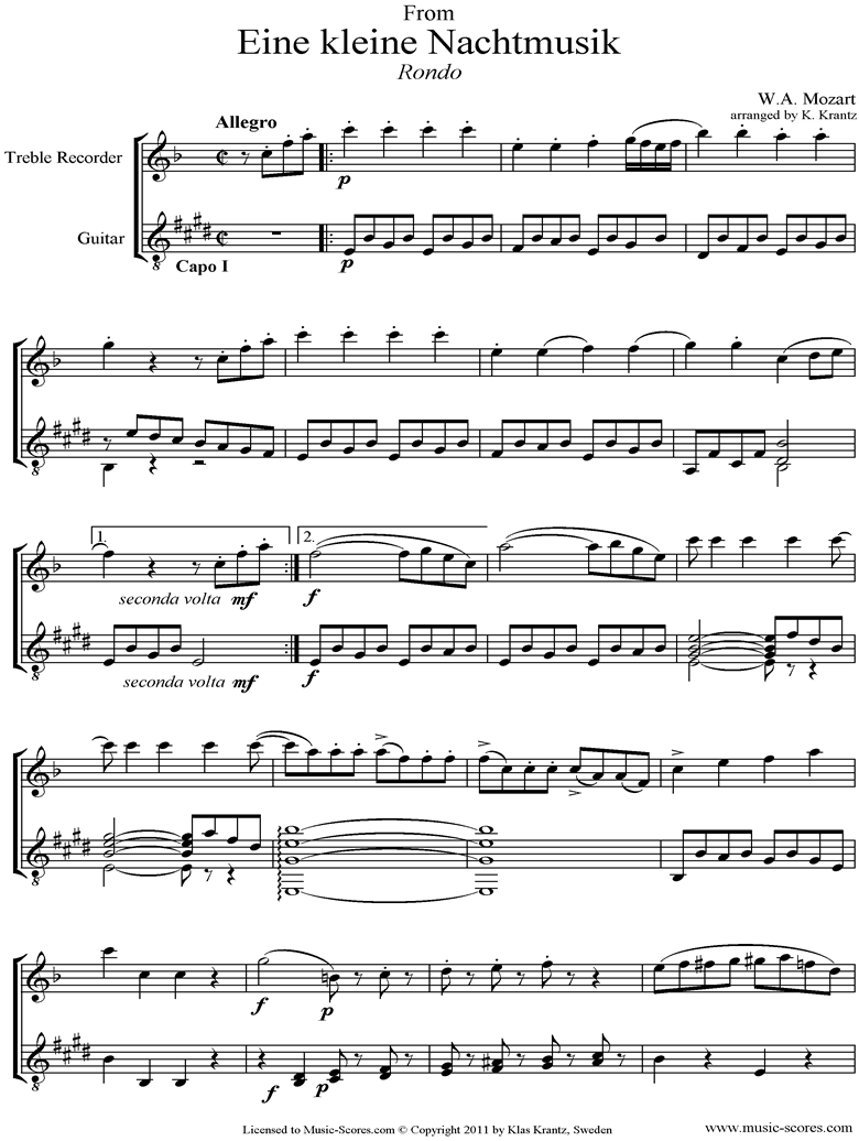 Front page of K525 Eine Kleine Nacht Musik 4: Rondo: Treble Recorder, Guitar sheet music