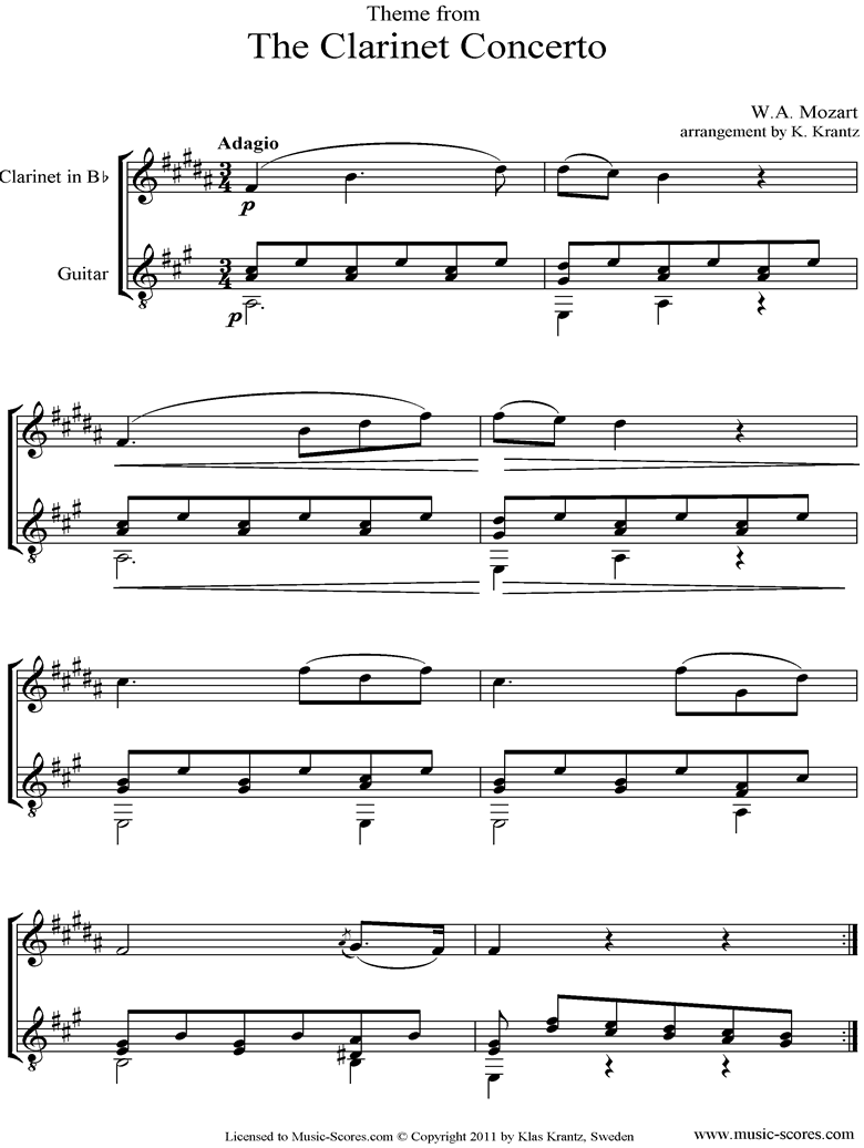Front page of K622 Clarinet Concerto: 2nd: Clarinet, Guitar sheet music
