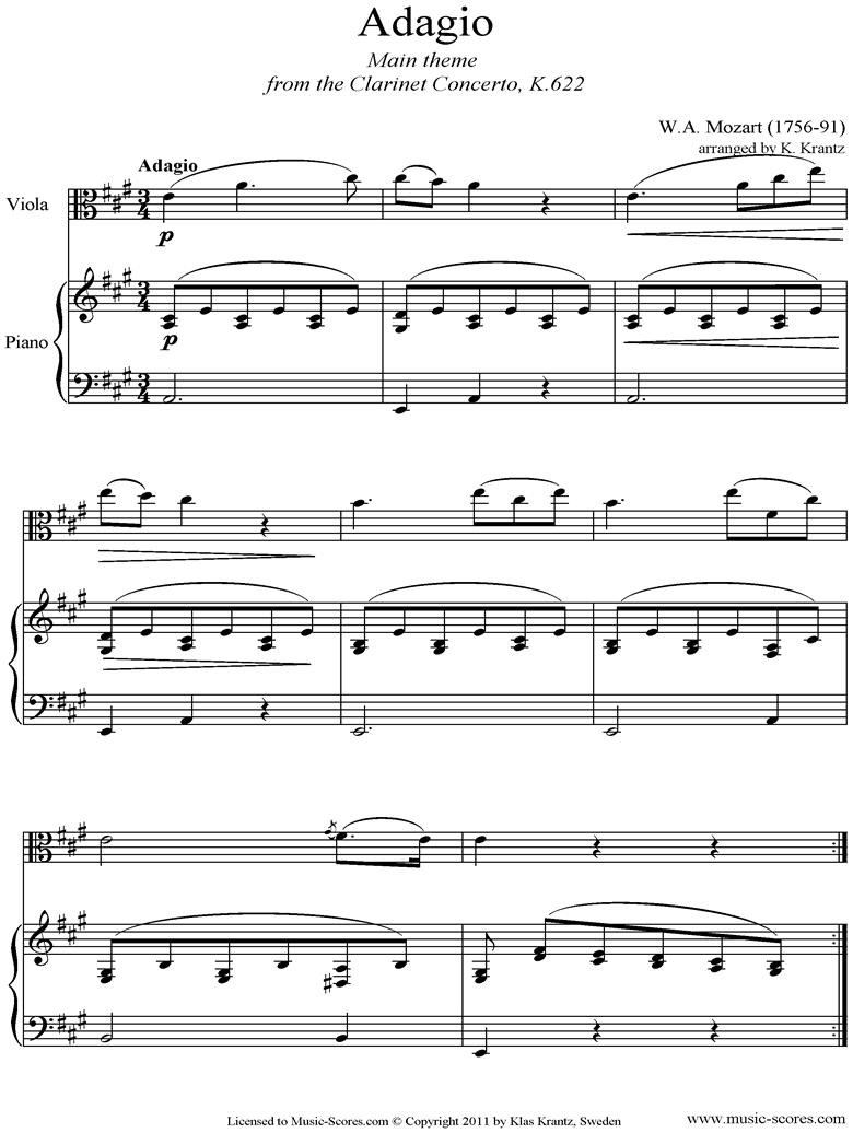 K622 Clarinet Concerto: 2nd: Viola, Piano by Mozart