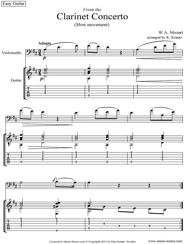 K622 Clarinet Concerto: 2nd: Cello, easy Guitar tabs by Mozart