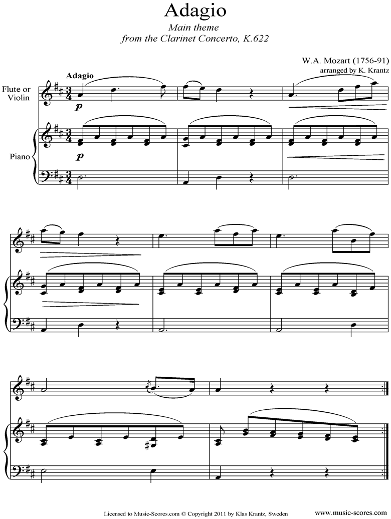 Front page of K622 Clarinet Concerto: 2nd: Violin, Piano sheet music