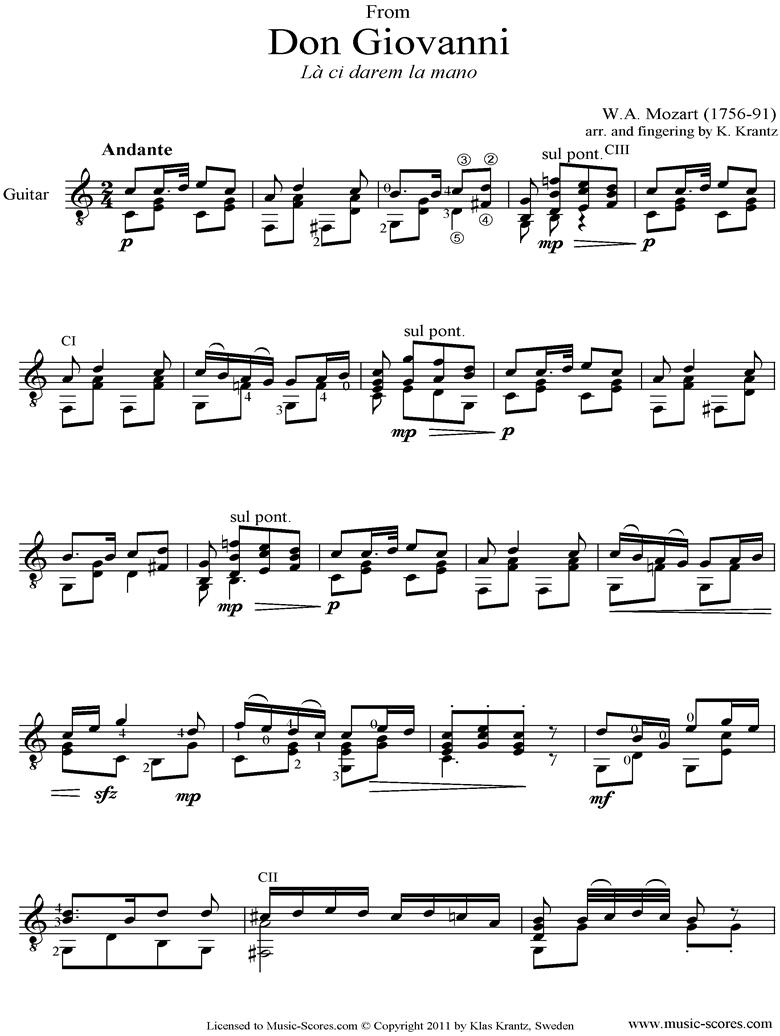 Don Giovanni: La Ci Darem la Mano: Guitar solo by Mozart
