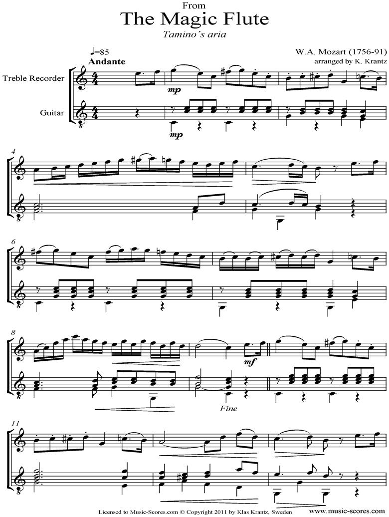 Magic Flute: Taminos Aria: Treble Recorder and Guitar by Mozart