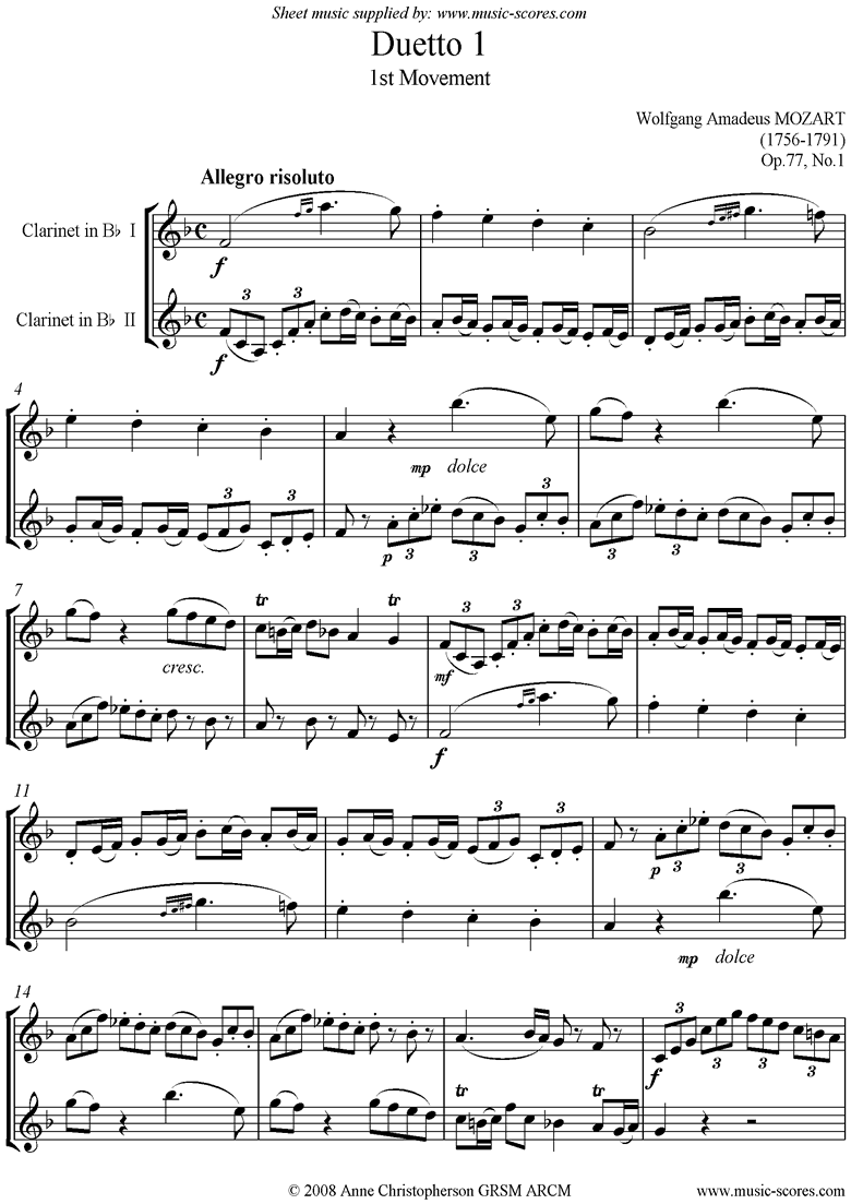 Front page of Op.77 Clarinet Duo: No.1, 1st mvt sheet music