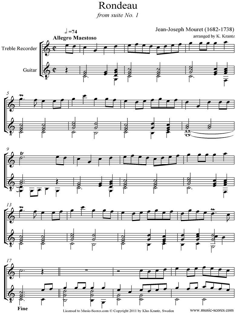 Rondeau: Bridal Fanfare: Treble Recorder and Guitar by Mouret