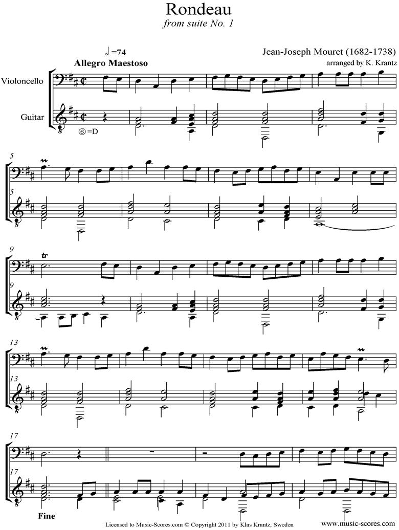 Rondeau: Bridal Fanfare: cello and Guitar by Mouret