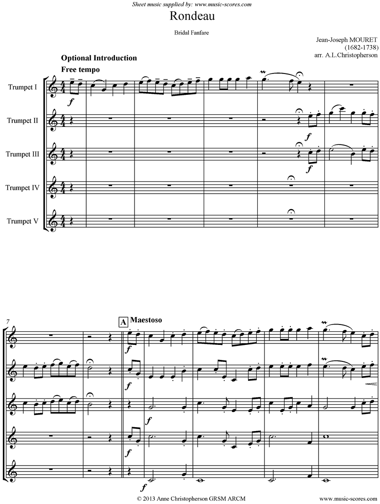 Rondeau. Bridal Fanfare: C ma: 5 Trumpets by Mouret