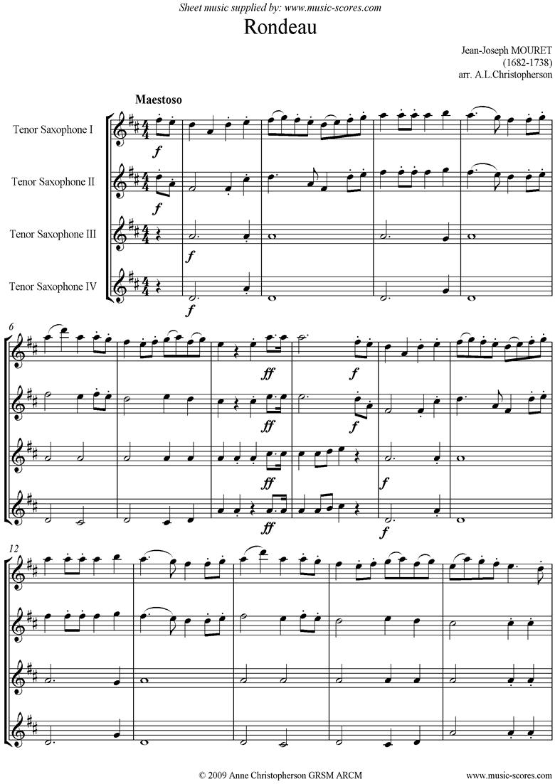 Rondeau. Bridal Fanfare: 4 Tenor Saxes by Mouret