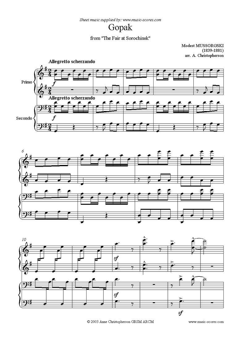 Front page of The Fair at Sorochinsk: Gopak - duet sheet music