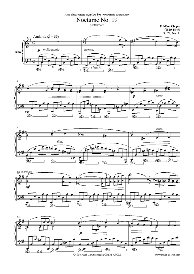 Front page of Op.72, No.01 (posth.) Nocturne no. 19 in E minor sheet music