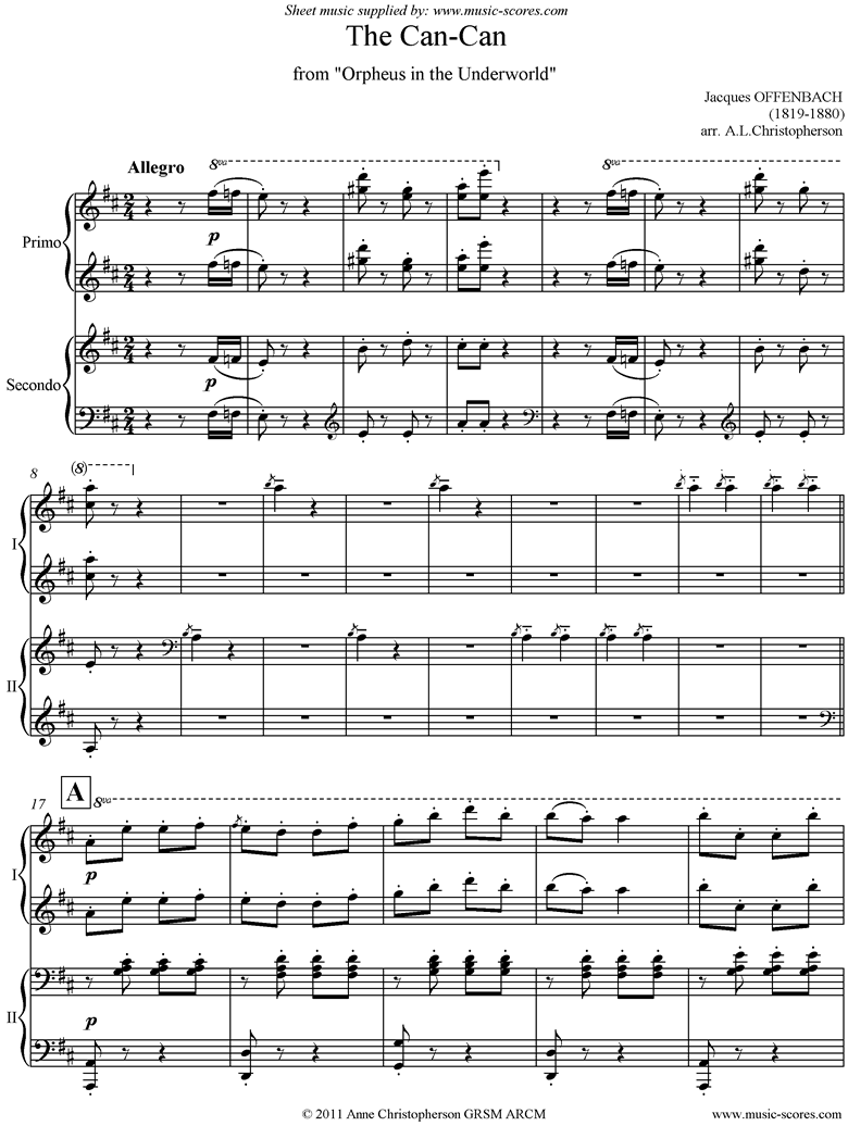 Front page of Can Can: from Orfeus in the Underworld: Piano Duet sheet music