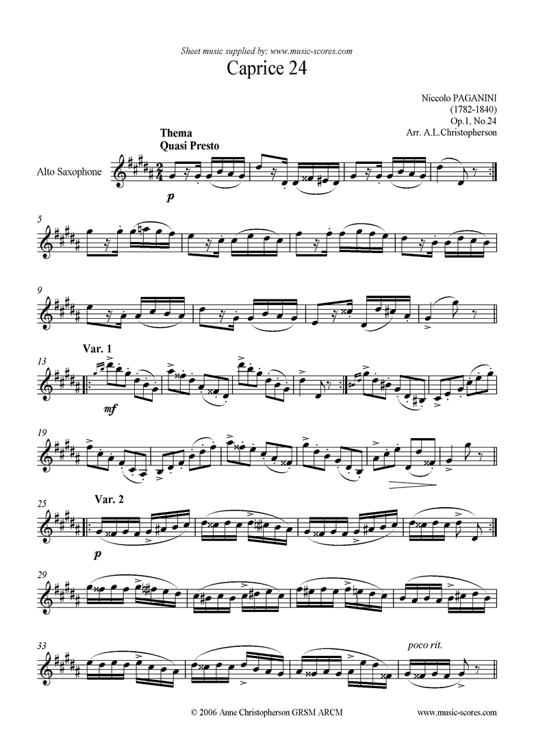 Front page of Op.1: Caprice no. 24: Alto Sax sheet music