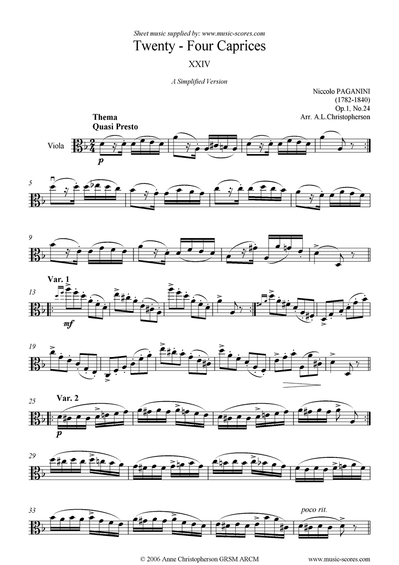 Front page of Op.1: Caprice no. 24: Viola sheet music