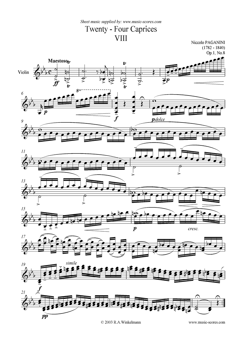 Front page of Op.1: Caprice no. 08 in Eb sheet music