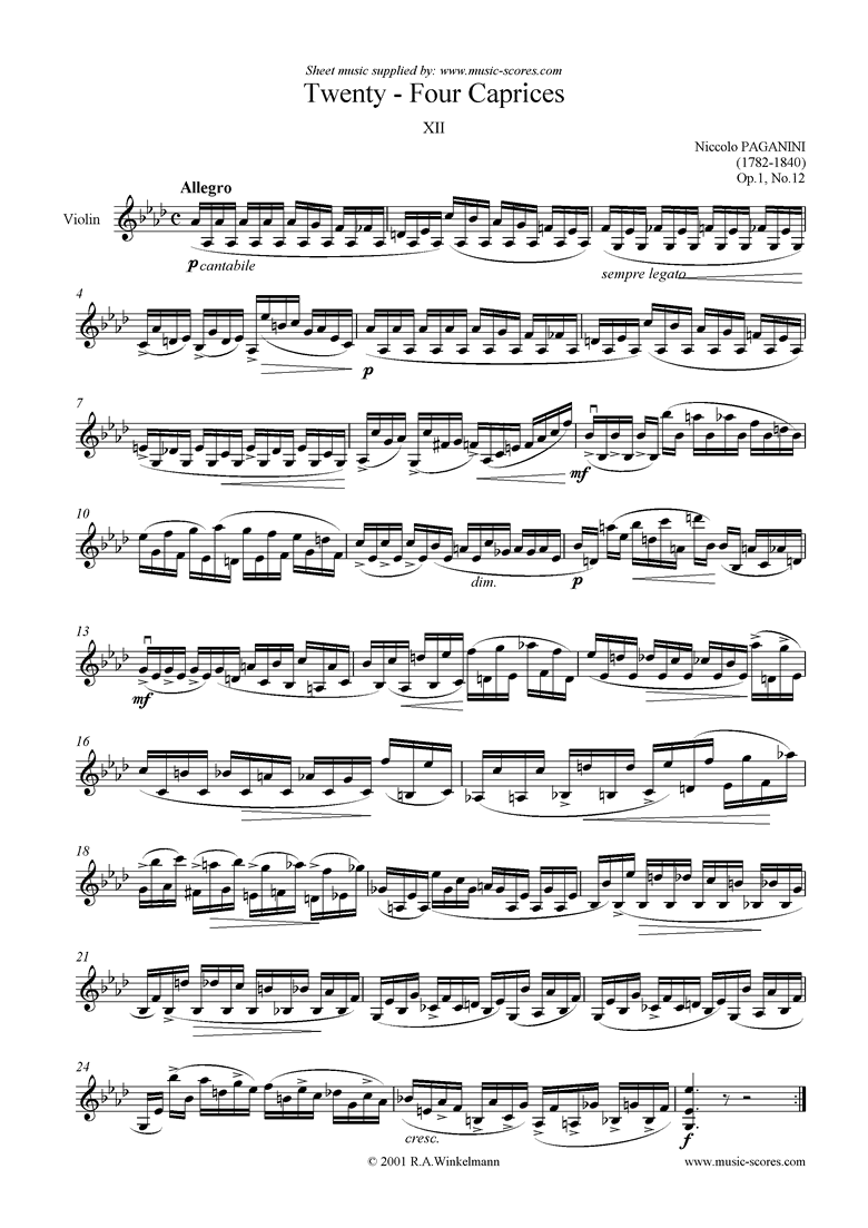 Front page of Op.1: Caprice no. 12 in Ab sheet music
