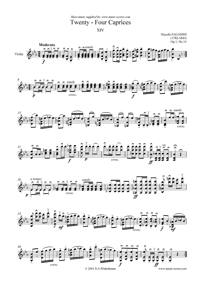 Front page of Op.1: Caprice no. 14 in Eb sheet music