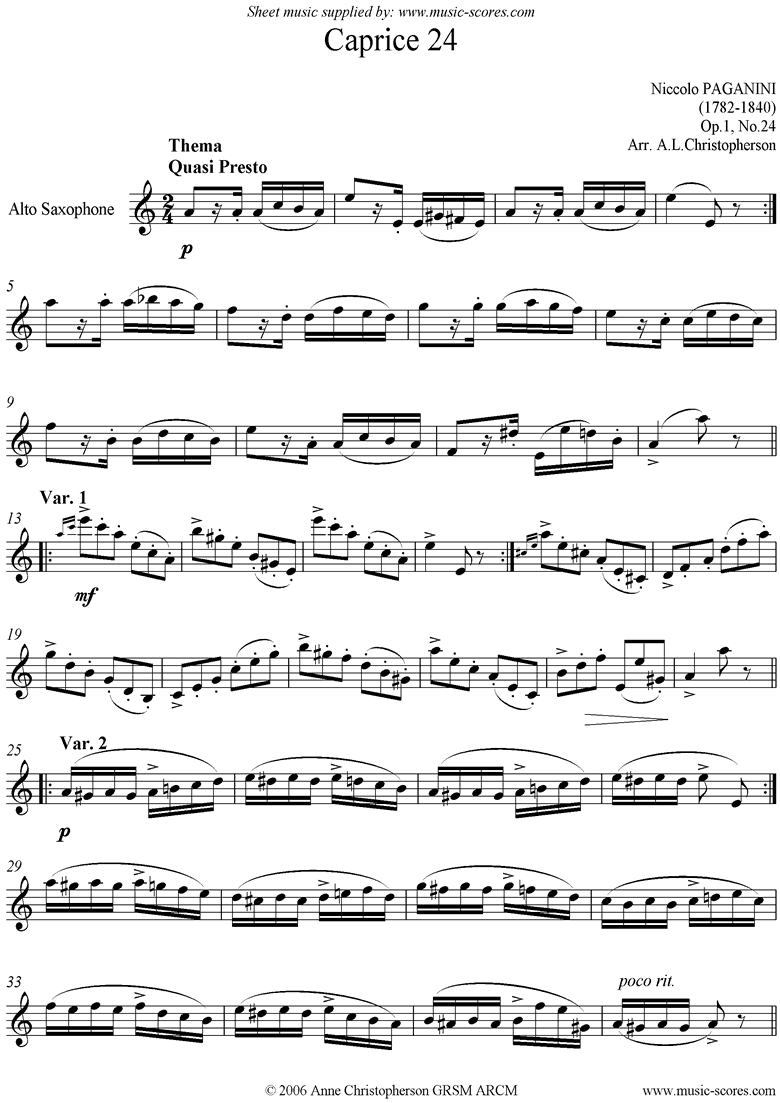 Front page of Op.1: Caprice no. 24: Alto Sax in A minor sheet music