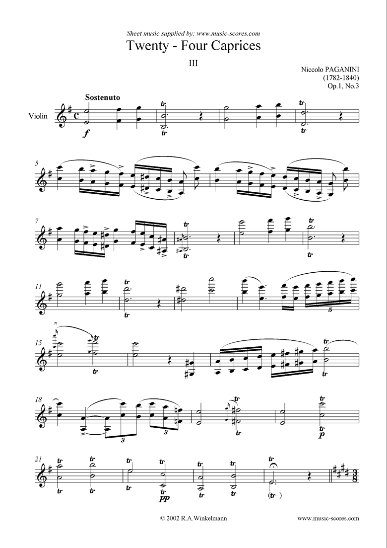 Front page of Op.1: Caprice no. 03 in E minor sheet music