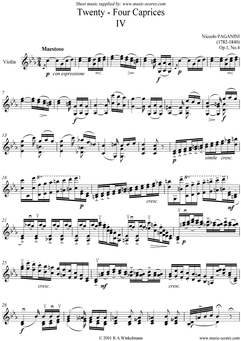 Front page of Op.1: Caprice no. 04 in C minor sheet music