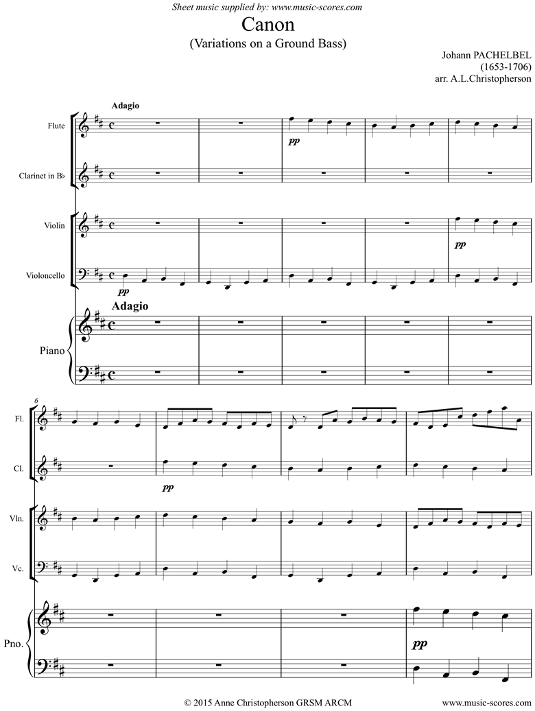 Front page of Canon: Flute, Clarinet, Violin, Cello, Piano sheet music