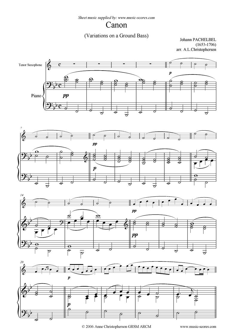 Canon: Tenor Sax, Bb major by Pachelbel