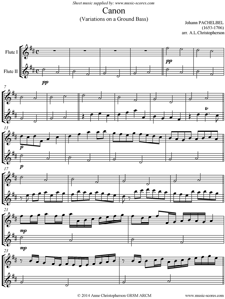 Front page of Canon: 2 Flutes sheet music