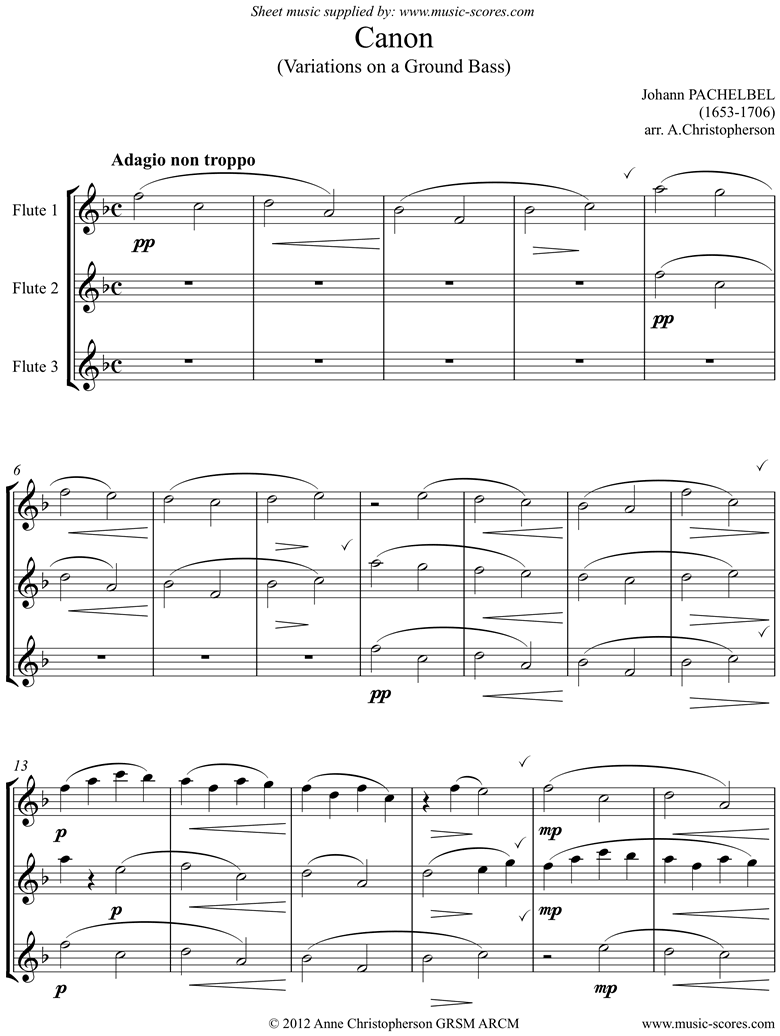 Front page of Canon: Trio for 3 Flutes sheet music