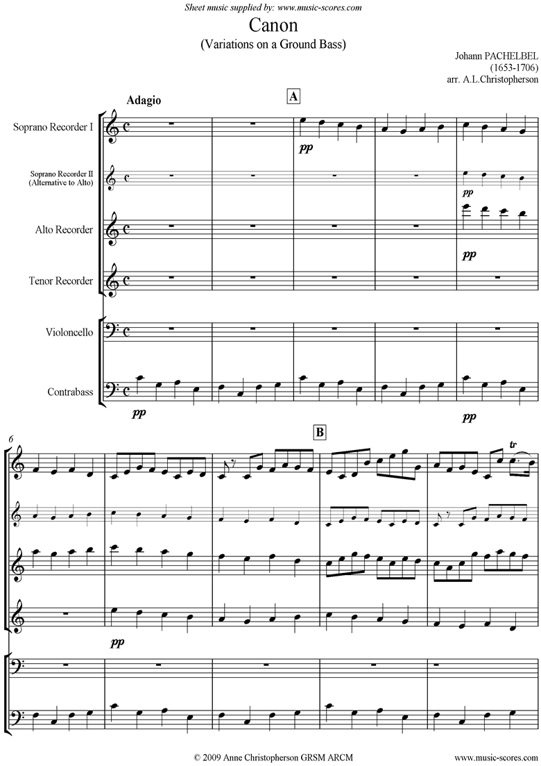 Canon: 3 recorders, Cello and Double Bass by Pachelbel